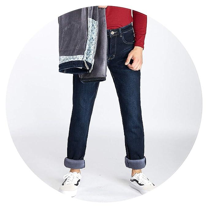 cc4a0e8166a Mens Winter Fleece Jeans Flannel Lined Stretch Denim Jeans Slim Fit Trousers  Pants