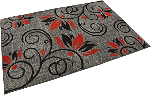 Normian Collection Flowers Floral Design Area Rug Rugs Area Rug 6 Color Options Grey Red, 3 3 x 4 7