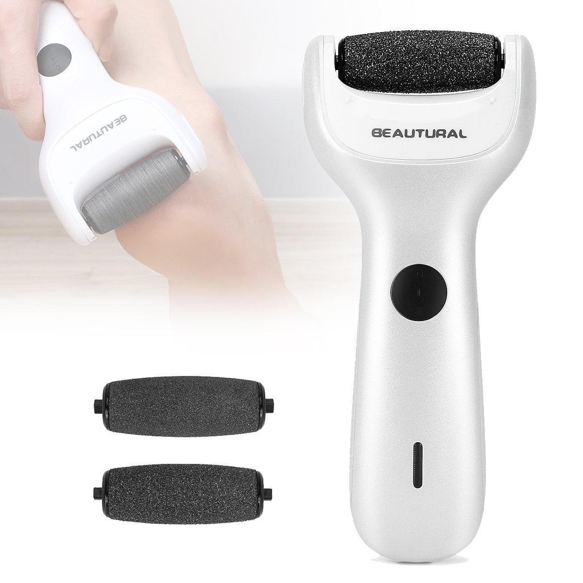 Beautural Electric Foot File with 3 Extra Rollers, Waterproof Wet & Dry Rechargeable Pedicure Tool Electronic Callus Remover and Hard Skin Remover, 1 Mineral Pumice Stone Roller + 2 Replacement included 1byone Products Inc.