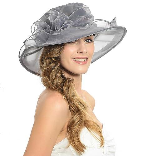 IL Caldo Women's Kentucky Derby Sun Hat Fascinator Flowers Wide Brim Gauze Hat Headdress