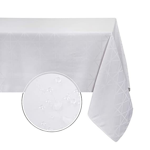 Obstal Rectangle Table Cloth, Oil-Proof Spill-Proof and Water Resistance Microfiber Diamond Tablecloth, Decorative Fabric Table Cover for Outdoor and Indoor Use (White, 60 x 84 Inch)