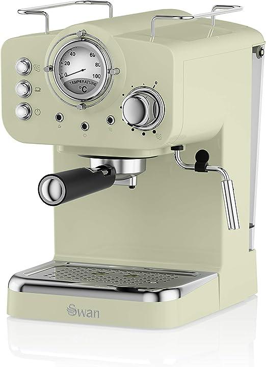 Swan SK22110GN Cafetera Espresso, 1100 W, Acero Inoxidable, Retro. Verde, 1.2 litros: Amazon.es: Hogar
