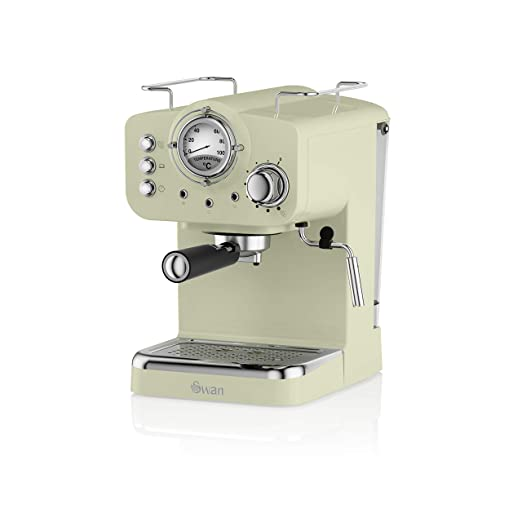 Swan SK22110GN Cafetera Espresso, 1100 W, Acero Inoxidable, Retro ...