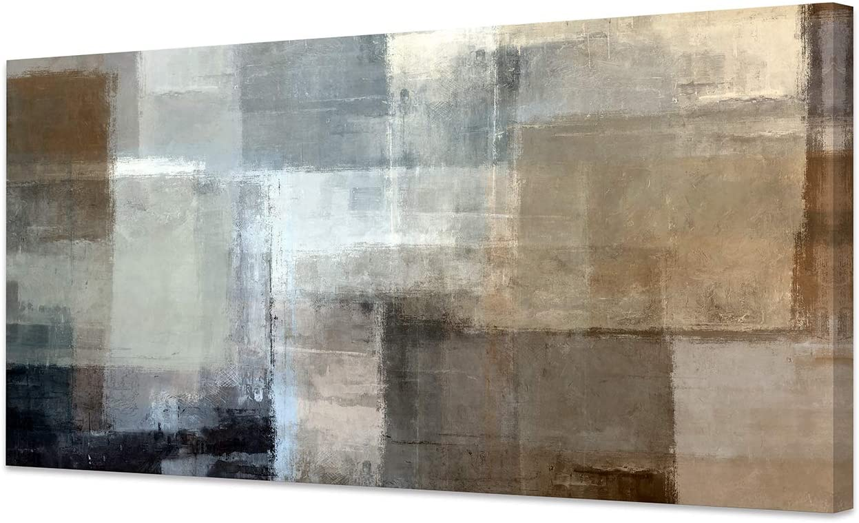 Baisuart Canvas Prints Abstract Wall Art Print Paintings Grey and Brown Stretched Canvas Wooden Framed for Living Room Bedroom and Office Home Decor Artwork 20x40inch