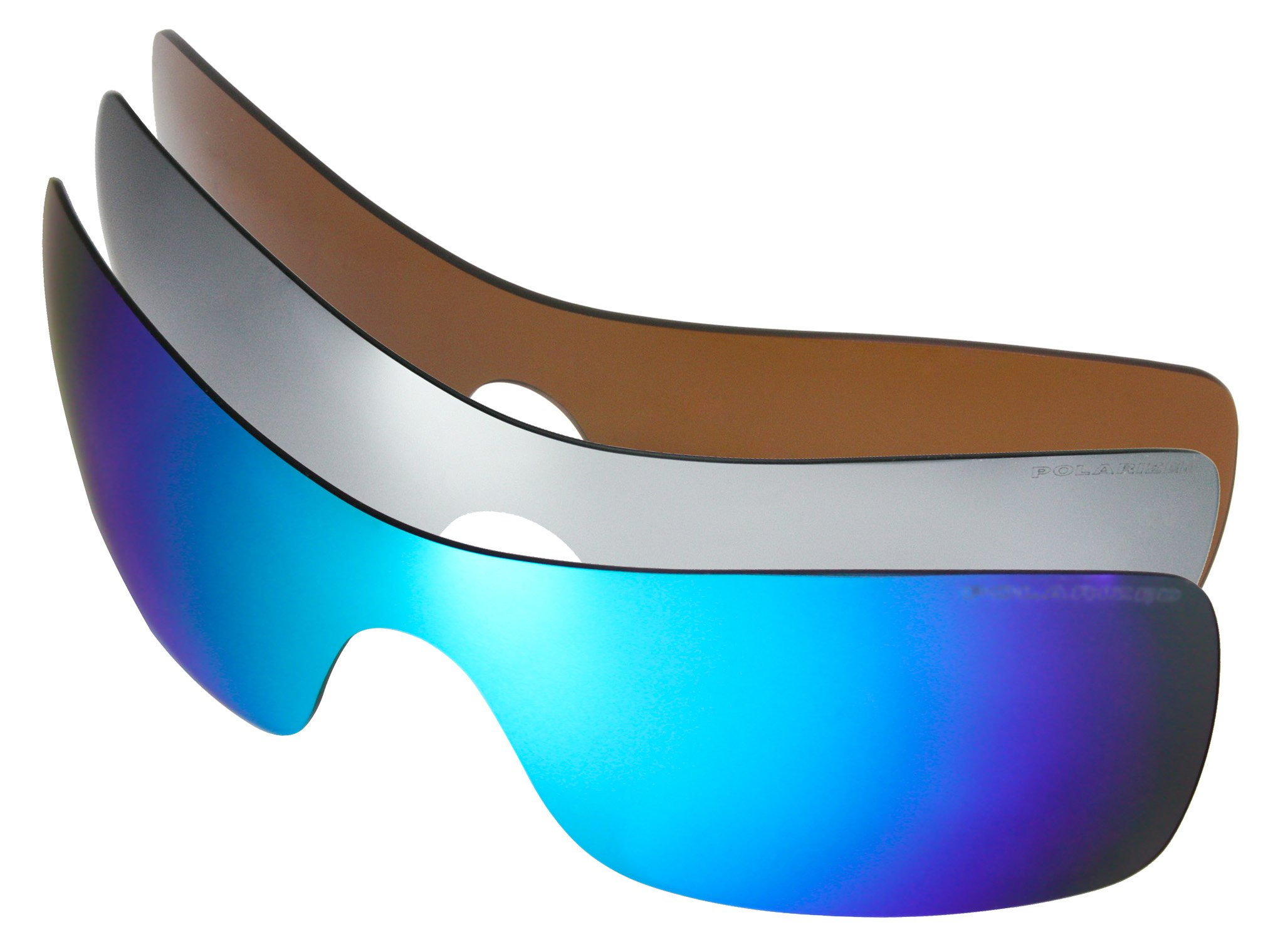 3 Pairs Polarized Replacement Sunglasses Lenses for Oakley Batwolf with UV Protection (Brown-Ice Blue Mirror-Titanium Mirror)
