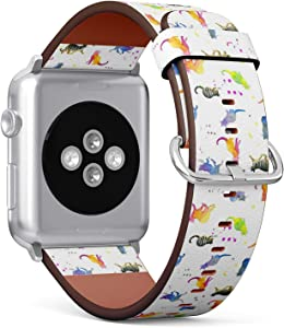 Compatible with Big Apple Watch 42mm & 44mm (All Series) Leather Watch Wrist Band Strap Bracelet with Stainless Steel Clasp and Adapters (Cute Cat Watercolor)