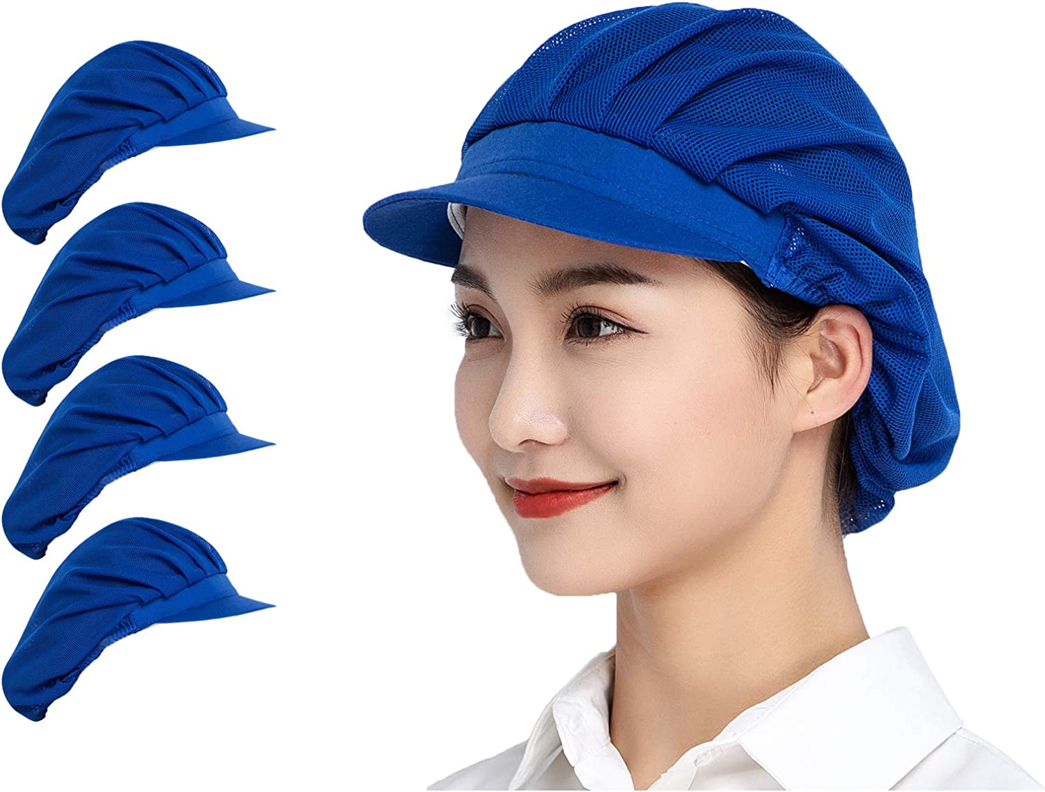 Jaspfct 1pc/4pcs Chef Hats-Kitchen Baker Cooking Hair Nets Food Service Caps for Adults