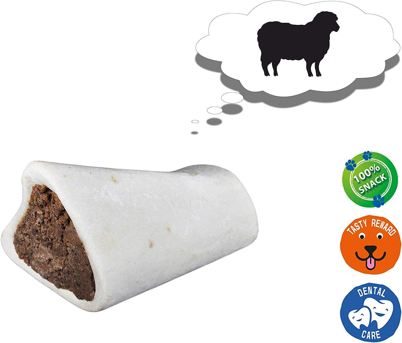 AVANZONA Snack Perros Hueso de Ternera con Relleno de Cordero, Calcio, golosinas, nutritivo y Sabroso, Juguete masticable para Perros, 200G Aproximadamente