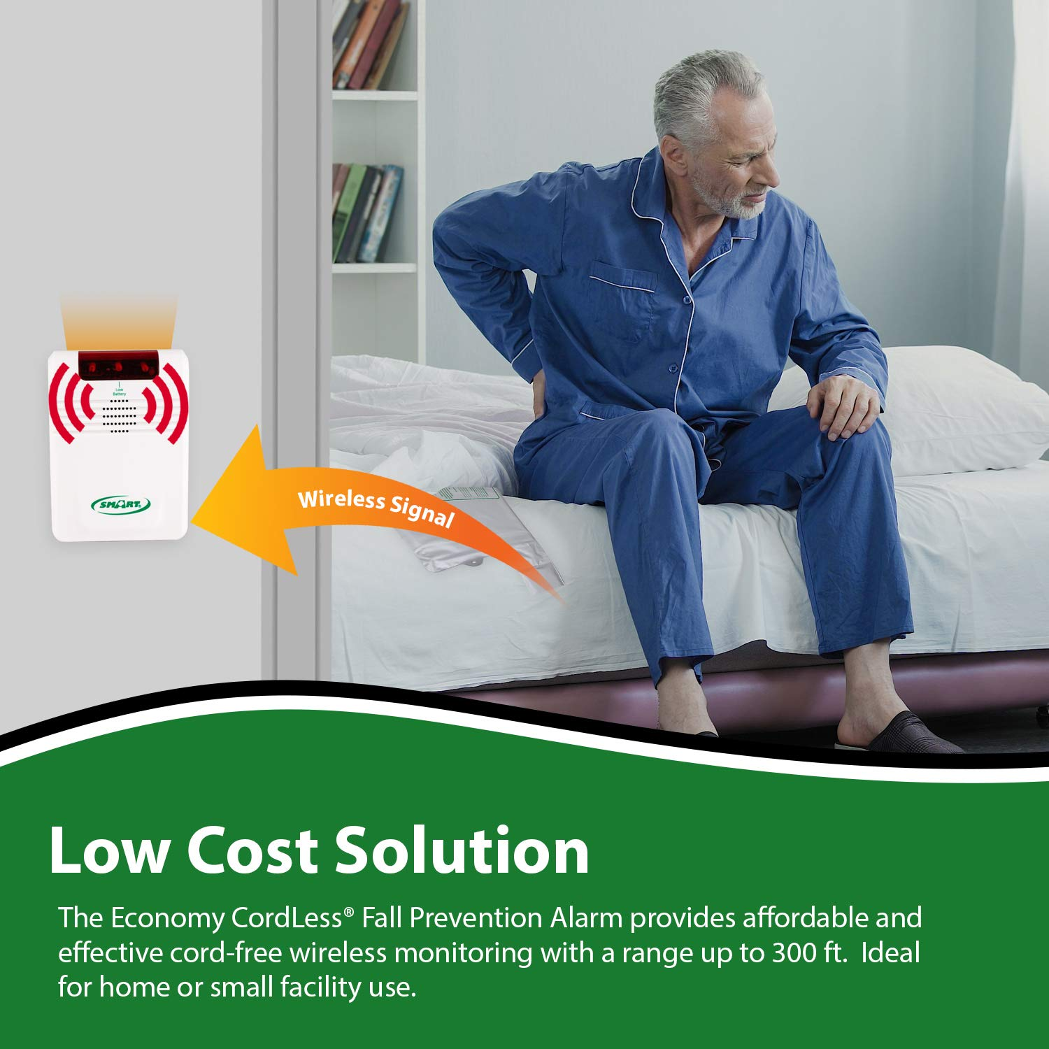 Smart Caregiver Corporation Cordless Bed Exit Monitoring System Alarm with Bed Pressure Sensing Pad - Help Prevent Falls and Wandering While ...