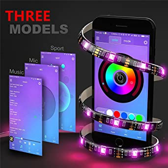 Elinkume Rgb Led Streifen Wireless Bluetooth App Control 2m 6 56