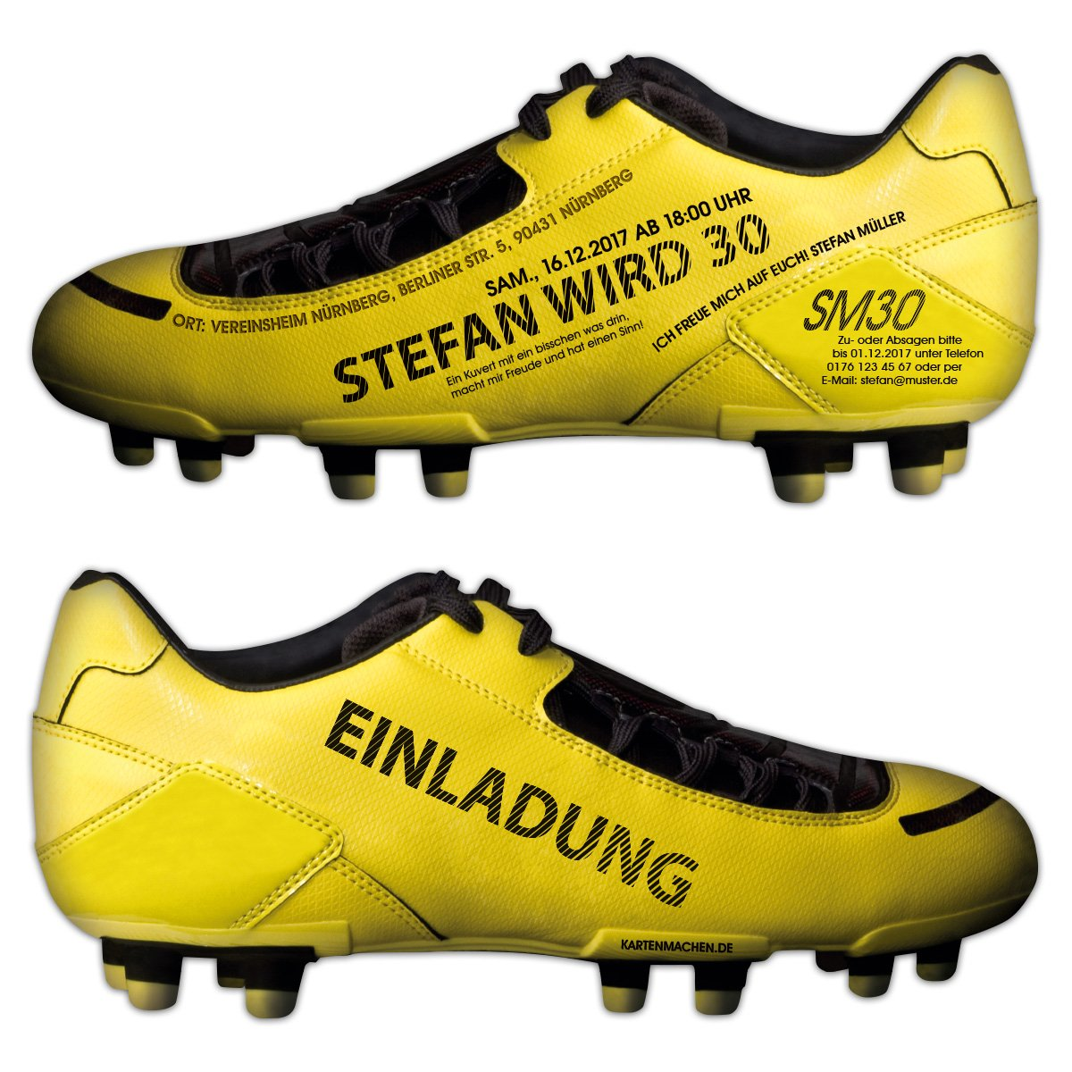 60 x Lasergeschnittene Einladungskarten Geburtstag Einladung individuell Fußballschuh Gelb