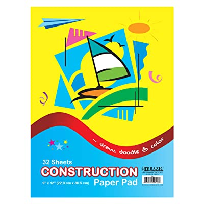 "BAZIC 32 Sheets 9"" X 12"" Construction Paper Pad, Assorted Colors Great For Creative Draw Cut Glue Fold, Gift for Toddler Kids Classrooms School Home DIY Projects : Drawing Pads And Books : Office Products"