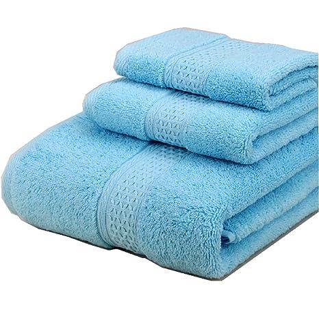 Color Sólido Juego de 3 Toallas de Baño 100% Algodón Absorbencia Rápida 1 Toalla de
