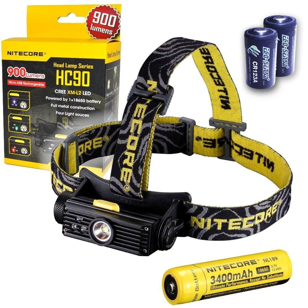 Nitecore HC90 900 Lumen CREE XM-L2 T6 LED USB rechargeable headlamp with Genuine NL189 18650 3400mAh Li-ion rechargeable battery, Two EdisonBright CR123A Lithium Batteries by Nitecore (Image #1)
