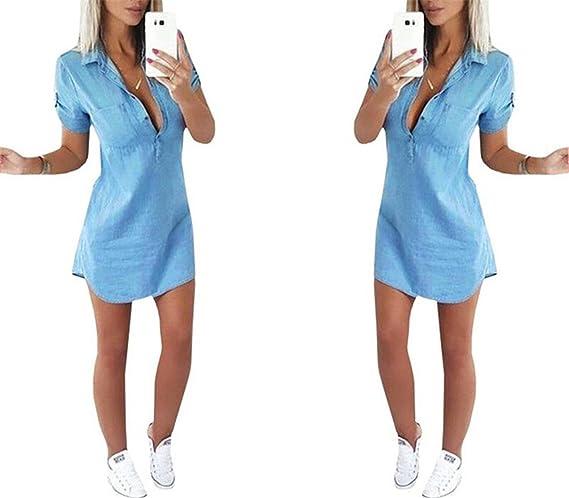 Amazon.com: Eloise Isabel Fashion Mulheres céu azul moda botão frontal up turn down collar shirt dress manga curta calça jeans verão dress: Clothing