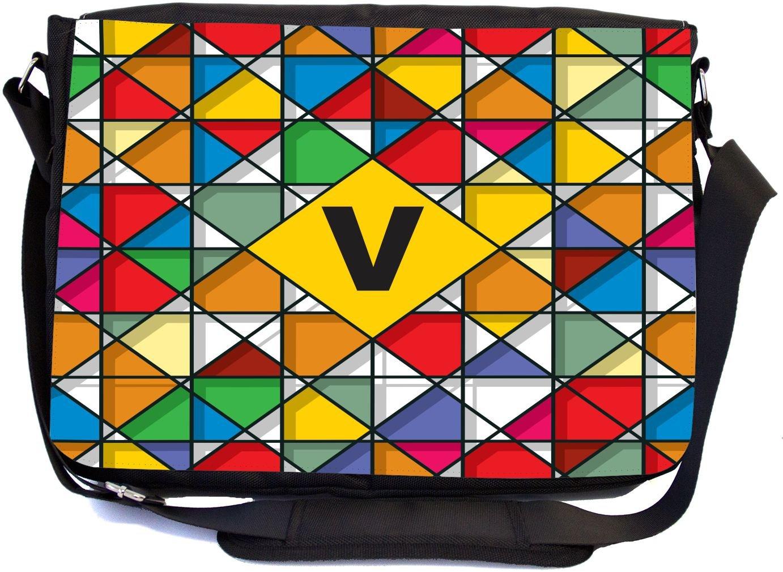 Rikki Knight Letter V Monogram Vibrant Colors Stained Glass Design Design Multifunctional Messenger Bag - School Bag - Laptop Bag - Includes Matching Compact Mirror