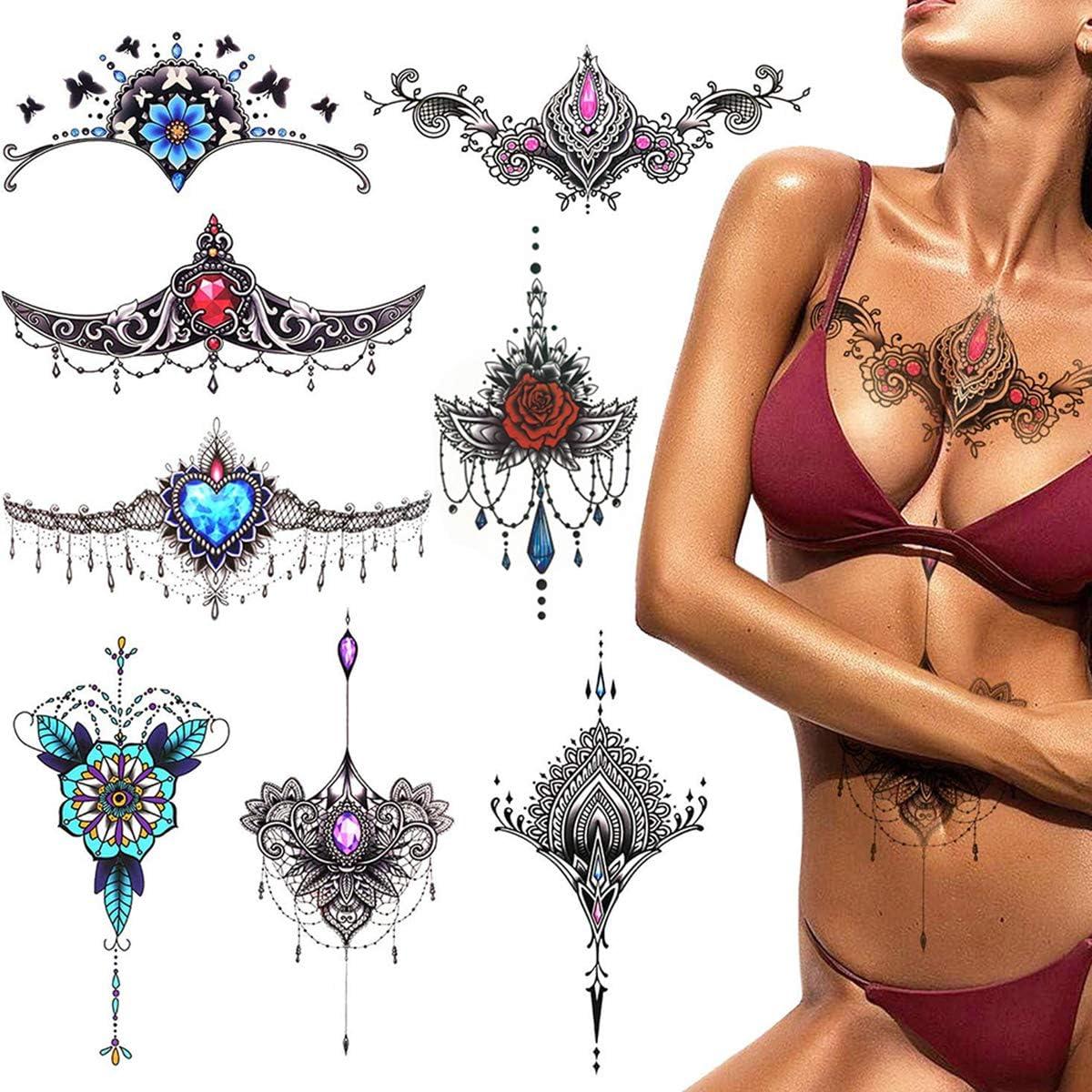 PHOGARY 8 hojas tatuajes temporales para adultos Mujer impermeable ...