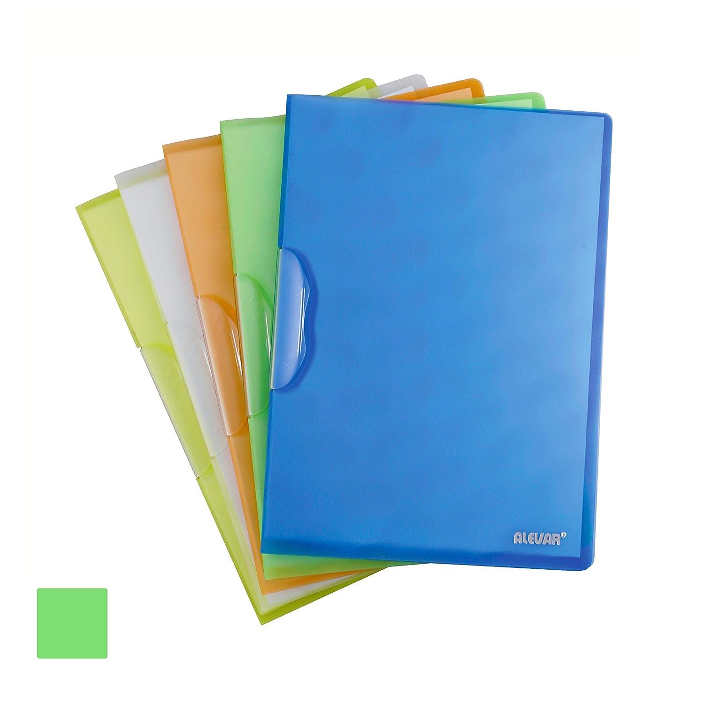 Blocca fino a 30//40 Fogli A4 Cartellina portadocumenti con Clip Fermafogli Confezione da 5 Pezzi Colore Verde Fluo
