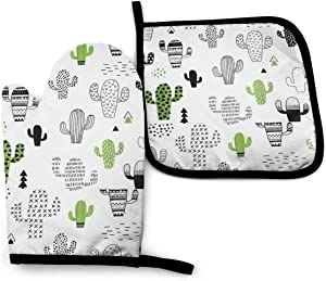 MSACRH Cartoon Cactus Oven Mitts and Pot Holders Sets of 2,Resistant Hot Pads with Polyester Non-Slip BBQ Gloves for Kitchen,Cooking,Baking,Grilling