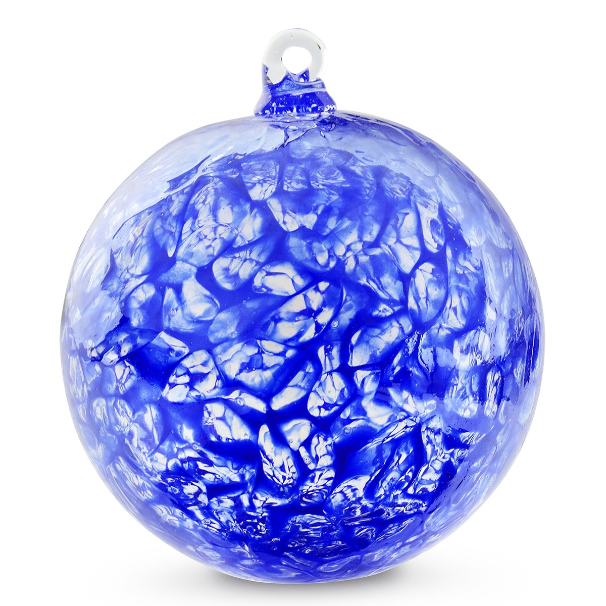 Friendship Ball Cobalt Blue Web Design 4 Inch Kugel Iridized Witch Ball by Iron Art Glass Designs