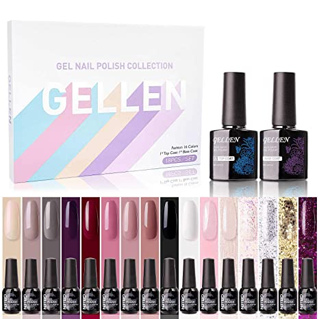 Gellen Gel Nail Polish Kit 16 Colors With Top Base Coat Popular Autumn Winter Gel Colors Collection Elegance Pure Shimmer Glitters Uv Nail Gel
