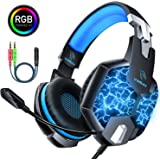 Gaming Headset for Xbox One, DM Noise Cancelling Headphones Over-Ear PS4 Headset with Mic, LED Lights Stereo Surround Sound Soft Memory Earmuffs Gaming Headphones for Mac, PC, Laptop, Nintendo Switch