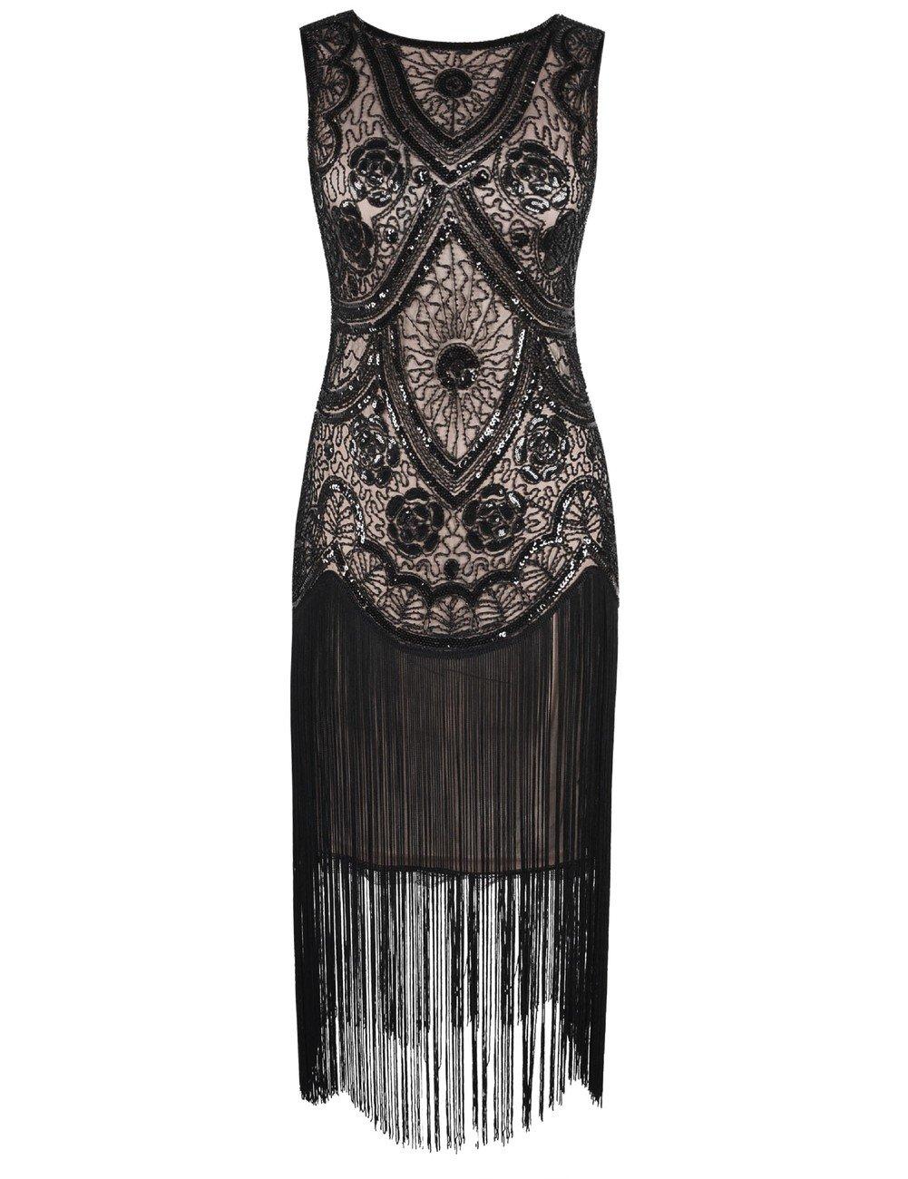 Kayamiya Damen 1920er Inspiriert Cocktail Flapper Gatsby Kleid Mit ...