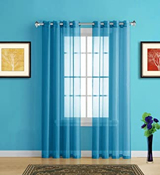 Amazon Com Warm Home Designs Blue Teal Sheer Window Curtains With