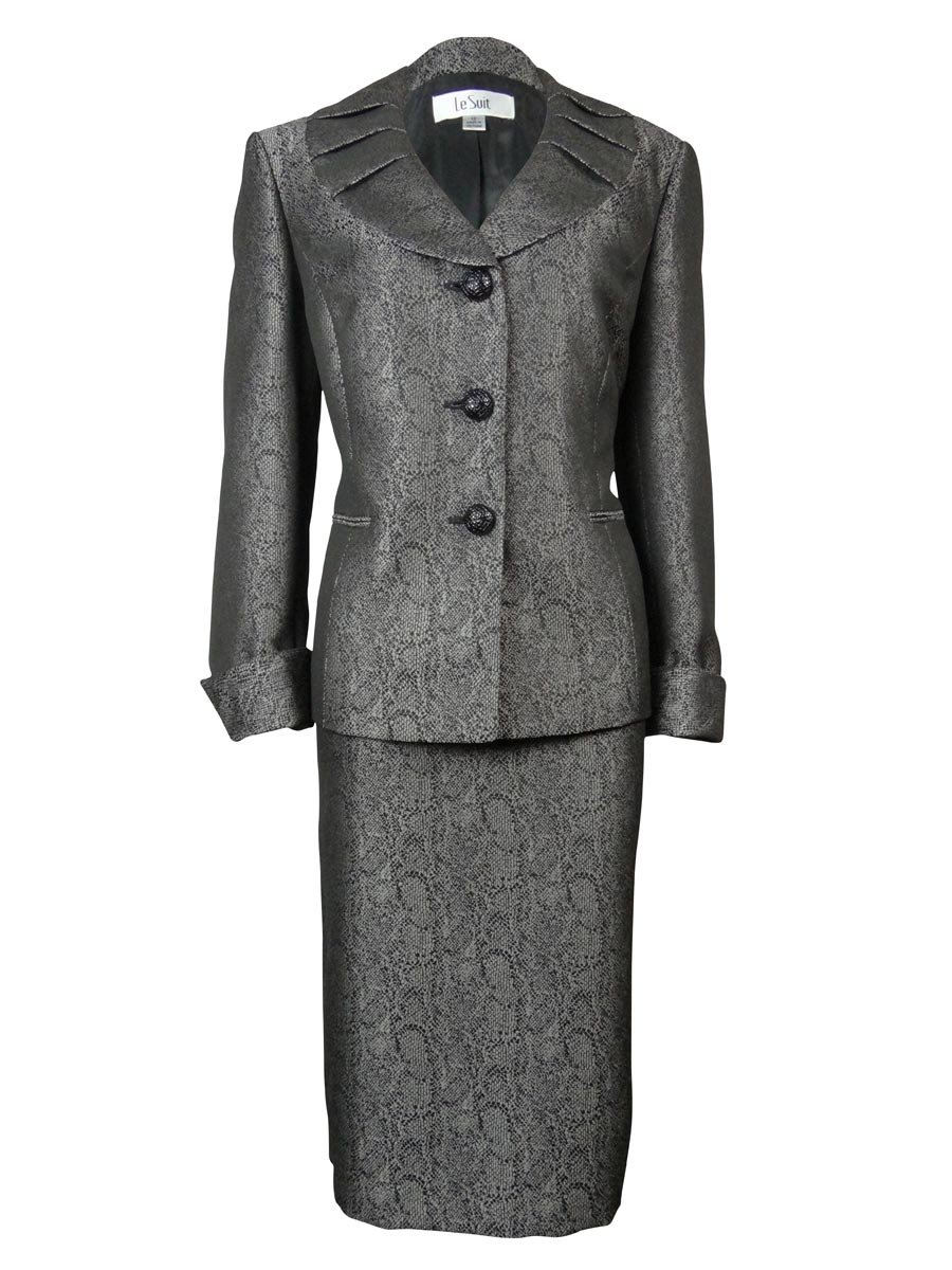 Le Suit Women's Three Button Petal Collar Brocade Jacket and Skirt Set, Black/Silver, 4
