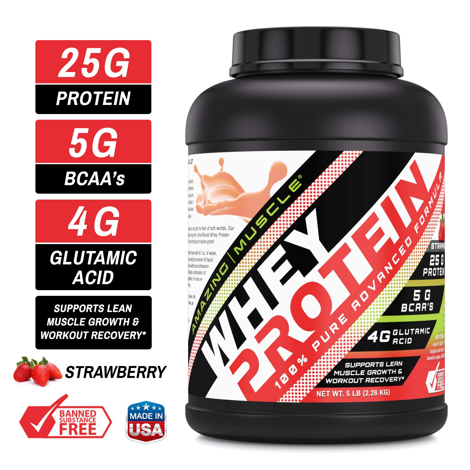Amazing Muscle 100% Whey Protein Powder *Advanced Formula with Whey Protein Isolate as a Primary Ingredient Along with Ultra Filtered Whey Protein Concentrate (Strawberry, 5 Pound) by Amazing Nutrition