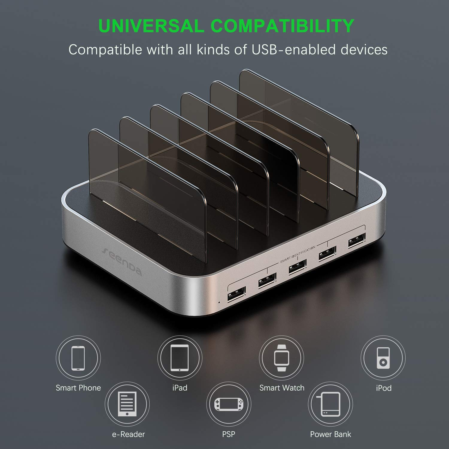 Seenda 5-Port 50W 10A USB Charging Station Organizer Desktop Charger with 8 Short Mixed USB Cables Compatible with iPad iPhone and Android Cell Phone Tablets Charging Station for Multiple Devices