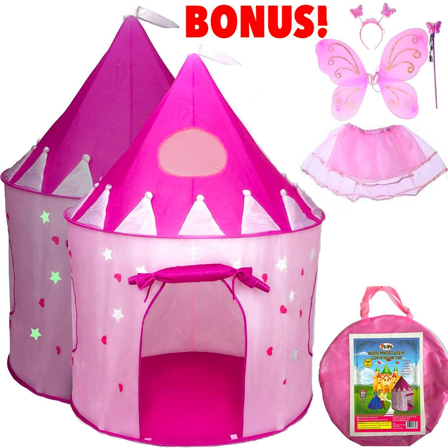 Life Size Princess Castle Girls Pop Up Play Tent & Dress Up Costume Bundle - Playhouse Gift for Girls & Toddler for Indoor & Outdoor Use with Pink Fairy Tale Carrying Bag & Glow in The Dark Stars by Playz