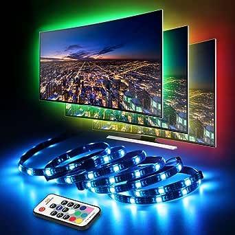 LED TV Fondo, infinitoo tira LED 4 * 50 cm Set, USB LED Strip 5050 RGB con Mando a distancia, iluminación LED TV Para 40 – 60 pulgadas TV, televisor, monitor de PC, Desktop, mesas: Amazon.es: Iluminación
