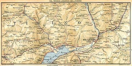 Amazon.com: SWITZERLAND. Val Maggia-Locarno-Bellinzona - 1930 - old ...