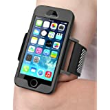 iPhone SE Armband, SUPCASE Easy Fitting Sport Running Armband with Premium Flexible Case Combo for Apple iPhone SE 2016 Release/Compatible with iPhone 5S/5 (Black)