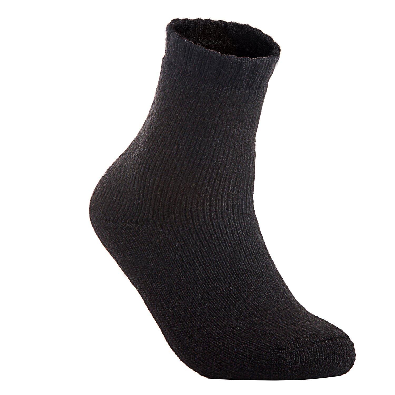 f36681427b Lian LifeStyle Men's 3 Pairs Extra Thick Wool Boot Socks Crew Plain Size  6-10 LK1603 (Black) at Amazon Men's Clothing store:
