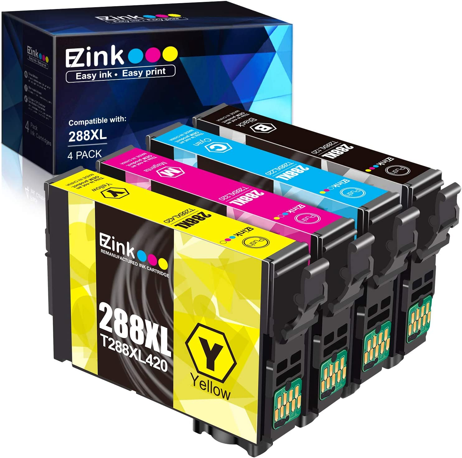 E-Z Ink (TM) Remanufactured Ink Cartridge Replacement for Epson 288XL 288 XL T288XL High Yield to use with Expression Home XP-330 XP-430 XP-446 XP-440 XP-340 (Upgraded Version, 4 Pack)