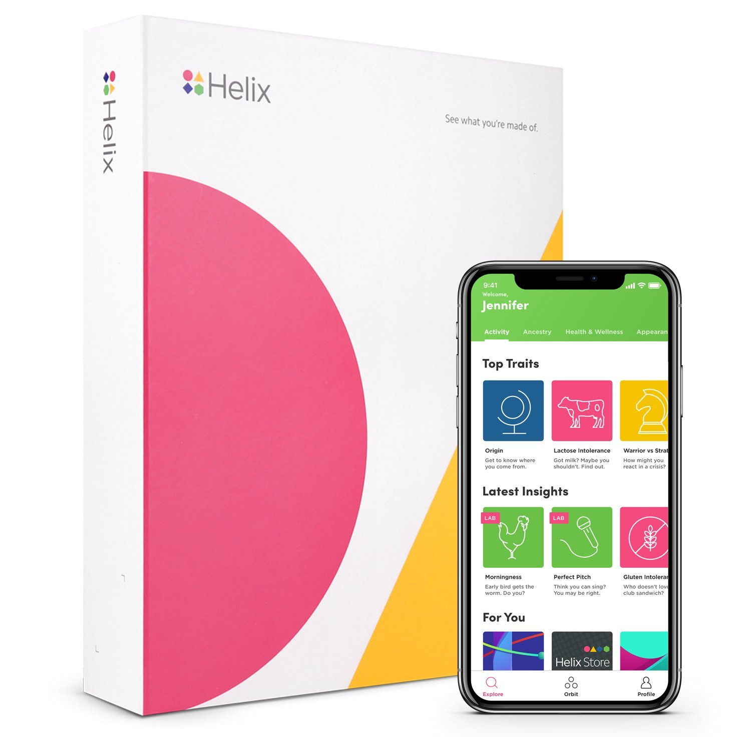 HumanCode DNA Test Kit: DNA Passport - 40+ Traits in Ancestry, Appearance, Personality, Behavior, Wellness - Powered by Helix