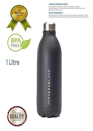 Botella de agua Jenner & Block de 1 litro de acero inoxidable negro para gimnasio, deportes al aire libre, oficina, respetuoso con el medio ambiente, ...