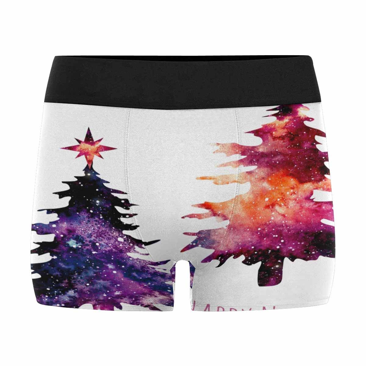 INTERESTPRINT Boxer Briefs Mens Underwear Christmas Watercolor Fir and Vivid Galaxy XS-3XL