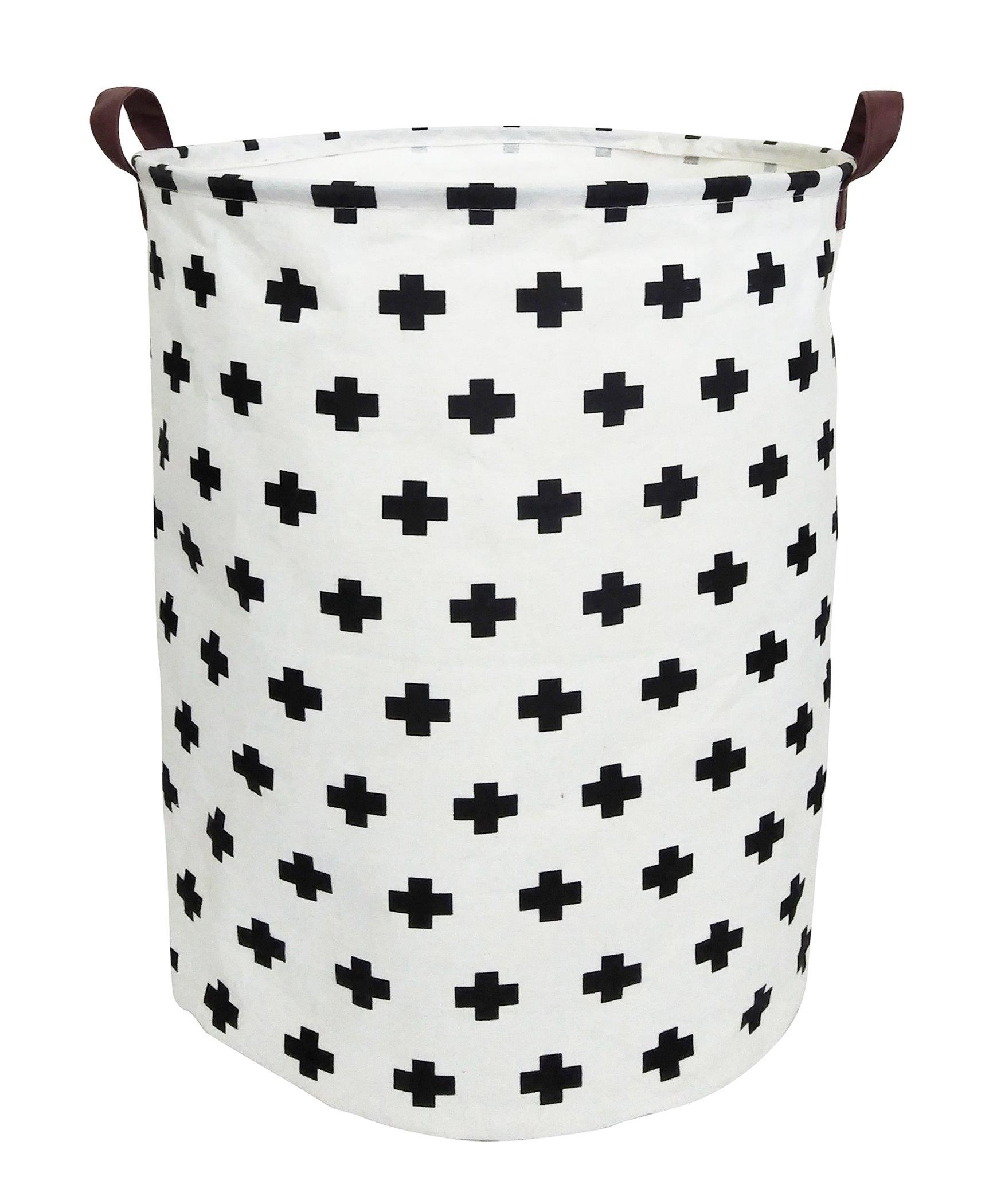 ESSME Large Laundry Hamper Waterproof Coating Canvas Fabric Storage Basket-Toy Organizer, Baby Nursery Hamper19.7×15.7''(plus sign) by ESSME