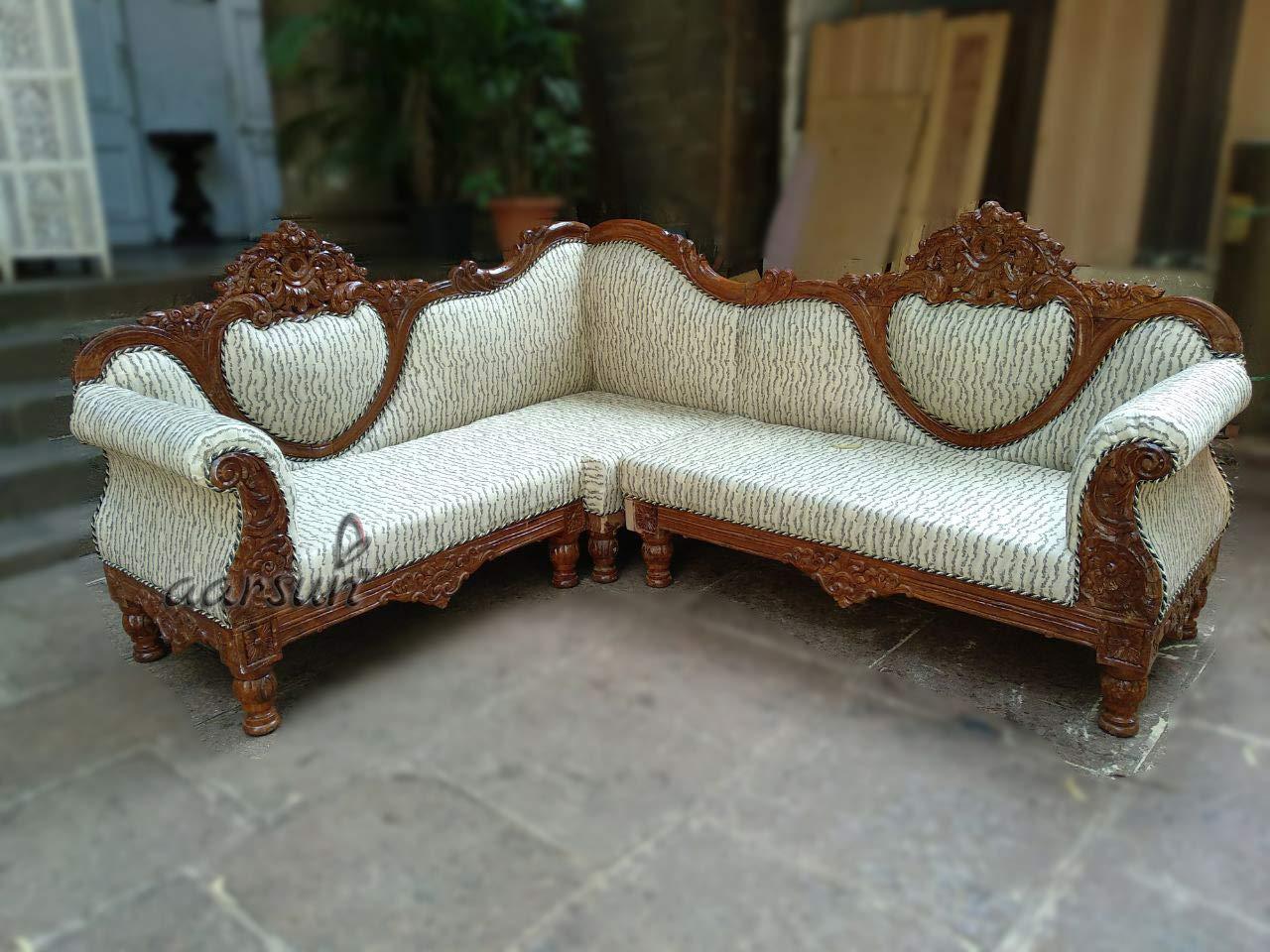Aarsun Woods 3 3 Sester Wooden L Shape Teak Sofa Set White Amazon In Home Kitchen