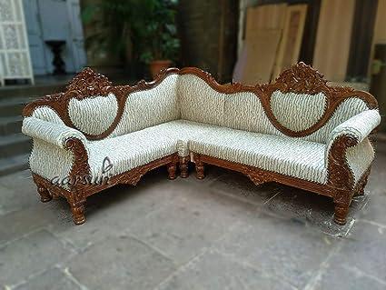 Aarsun Woods 3+3 Sester Wooden L-Shape Teak Sofa Set (White)