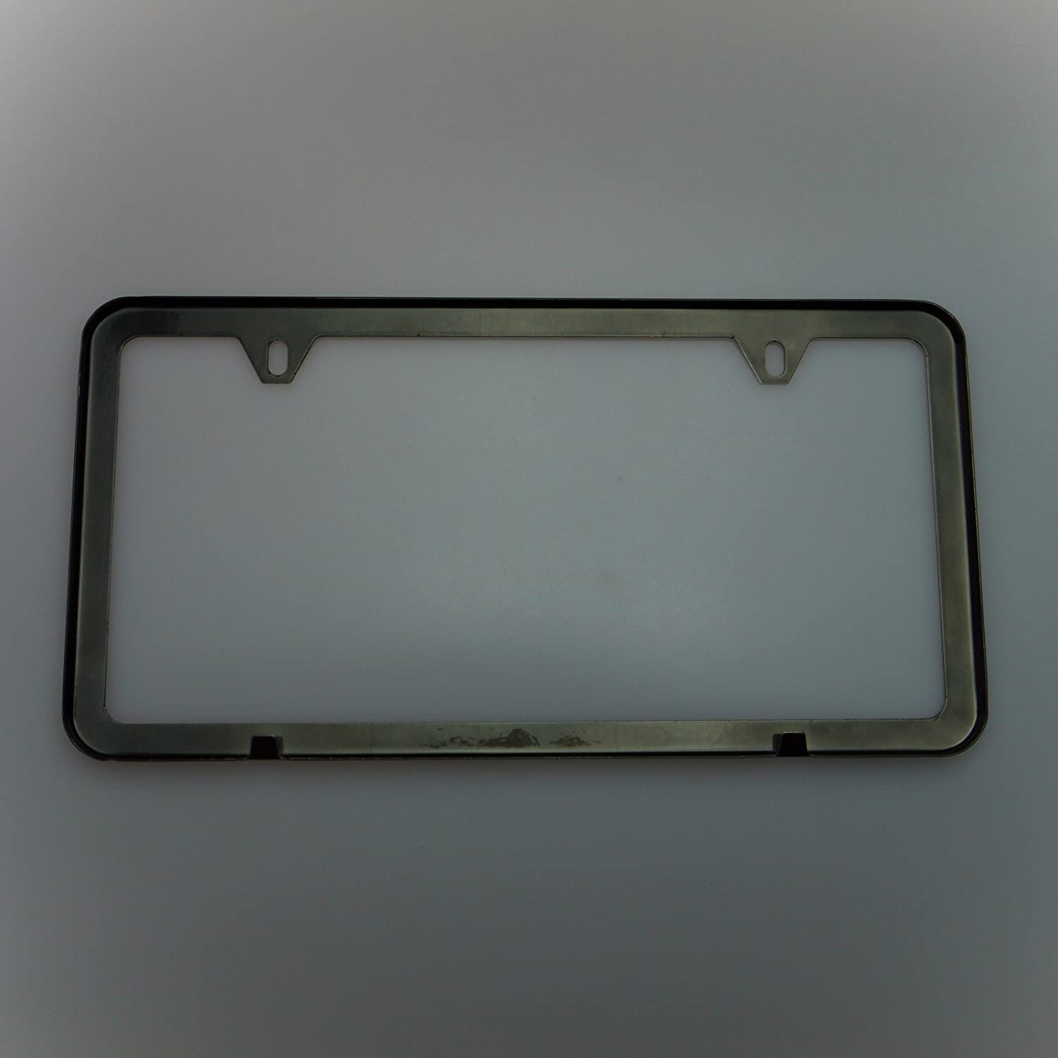 Amazon.com: Circle Cool Black Chrome Powder Coated Stainless Steel License Plate Slim Two Hole Frame Holder Bracket: Automotive