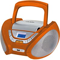 Lauson Lecteur CD | Radio Portable | USB | Radio Stéréo CD Lecteur MP3 pour Enfant | Chaîne Stéréo | Prise Casque | Aux in - Écran LCD - Batterie et Alimentation électrique | CP447 (Orange)
