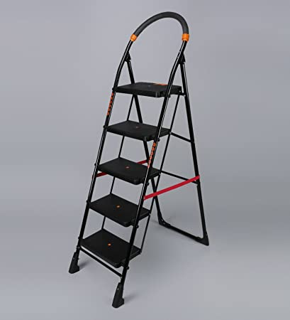Flipzon Heavy Foldable Cameo 5 Steps Ladder with Wide Steps & Anti-Skid Shoes (Make in India) - Black