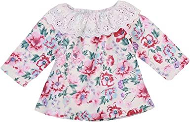 Infant Baby Girl Twins Long Sleeve Lace Ruffles Romper Floral Bodysuit