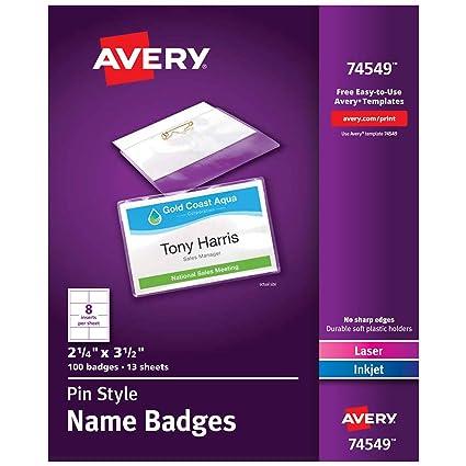 amazon com avery pin style name badges print or write 2 1 4 x 3