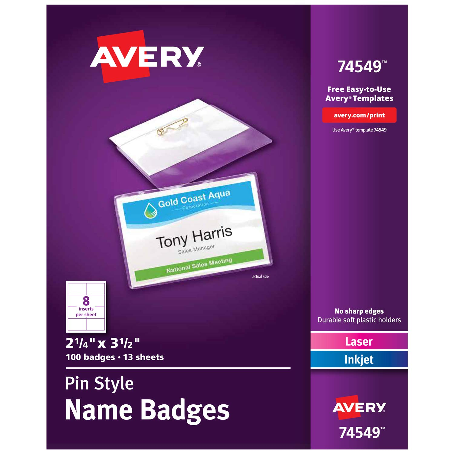 Avery Pin Style Name Badges, Print or Write, 2-1/4'' x 3-1/2'',  Pins Securely, 100 Inserts & Pin Badge Holders (74549)