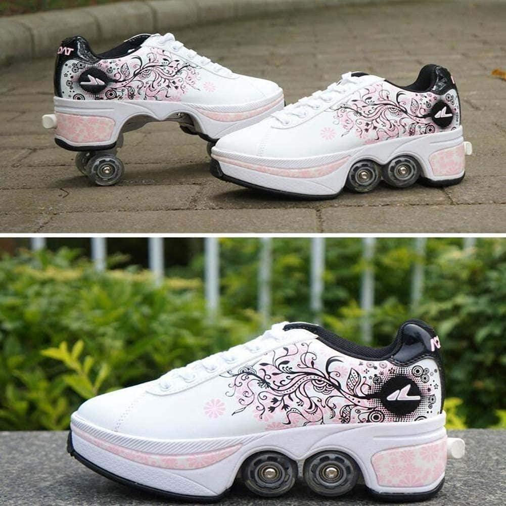 LIH Multifunktionale Deformation Schuhe Quad Skate Rollschuhe Skating Outdoor Sportschuhe F/ür Erwachsene Laufschuhe Sportschuhe Kinder Skateboard Schuhe Kinderschuhe Mit Rollen